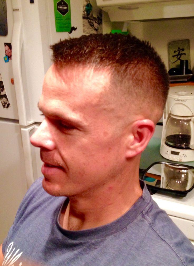 Medium skin fade, medium reg, military