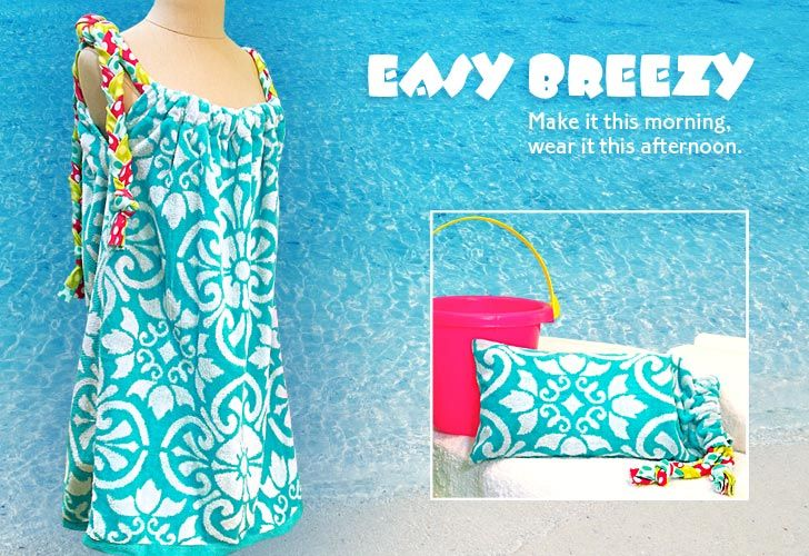 Why not turn your towel into a towel swim dress??  And a hand-towel swim suit carrying case?? Love it!