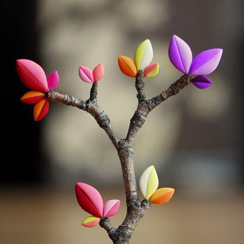 precioso rama con hojas de porcelana fria fimo