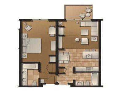 Floorplan for One Bedroom Suite