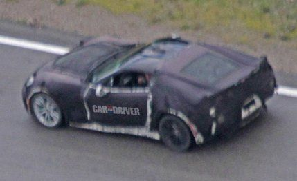 """A heavily camouflaged seventh-generation Chevrolet Corvette that Car and Driver believe to be the next generation of Z06 high-performance models, which will be called Z07. The Corvette has used such an RPO twice in the past—first as an off-road suspension and brake package from 1973–1975 and again in 1991–1995 to designate an adjustable-suspension package—and, considering the publicity the seventh generation of Corvette has going for it, the """"Z07"""" moniker would make some sense."""