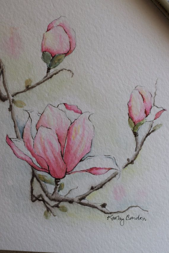 "Pretty magnolia with 3 blossoms! Prints-- This is a print from the original hand-painted watercolor greeting card on 140 lbs. acid free, Strathmore watercolor paper. All the cards are designed and painted by me. Dimension of the card is 5""x 6⅞ "". Matchin"