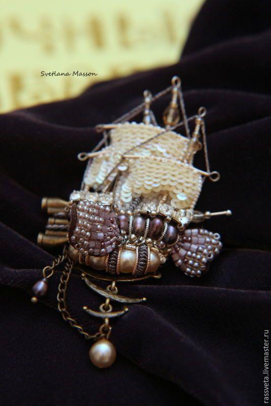 Купить Брошь корабль,,Форсаж,, - бежевый, подарок, подарок на любой случай, подарок на день рождения