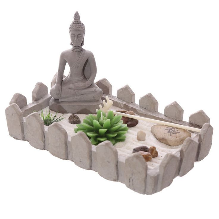 Rectangular Buddha Zen Garden Tea Light Holder Set New Home Ornament Decorative