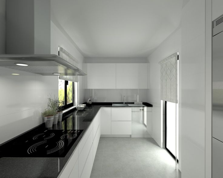 modelo line l blanco seda encimera granito negro