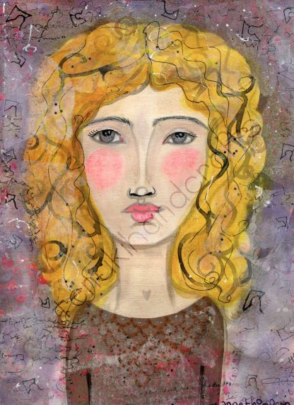 A fine art print of an original mixed media piece by me.   In Ancient Greek Mythology, Dione is the mother of Aphrodite, with Zeus.  There are several versions of Dione. This portrait represents one of those tales: that Zeus was, in fact, Dione.   Looks like the Ancient Greek gods invented drag.