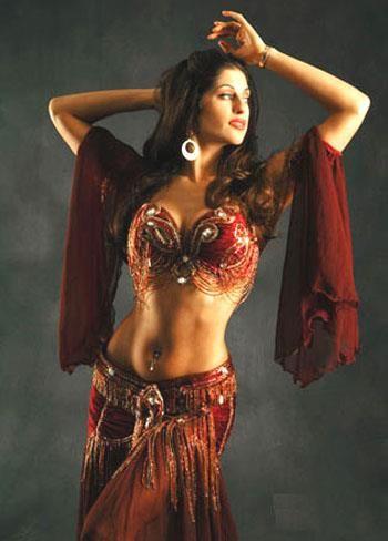 Костюм восточного танца коричневого цвета