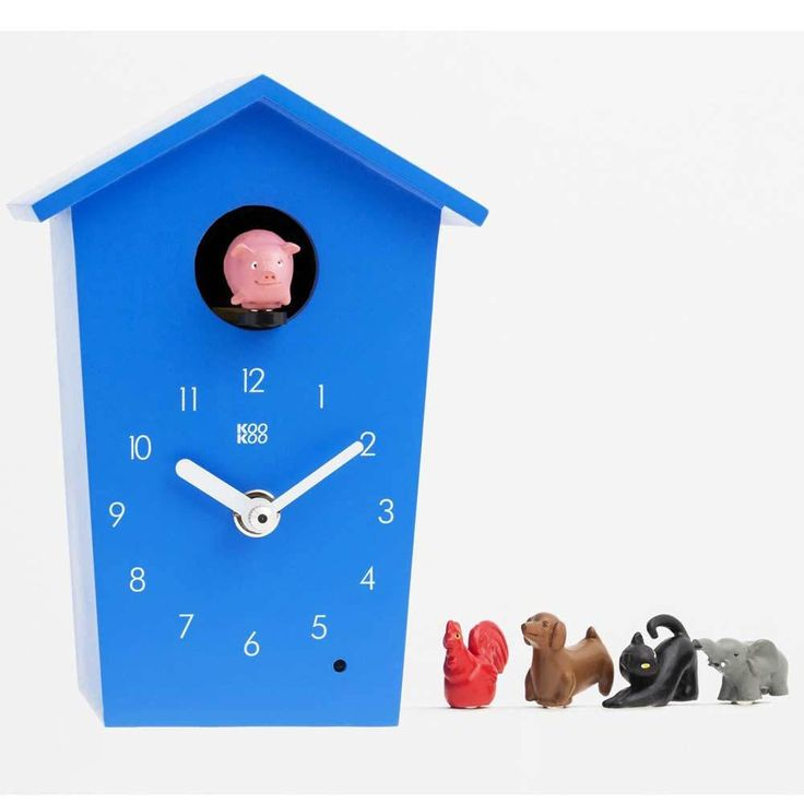 The Design Gift Shop - KOOKOO | Kids Wall Clock | Animal House Blue, $149.50 (https://www.thedesigngiftshop.com/kookoo-kids-wall-clock-animal-house-blue/)