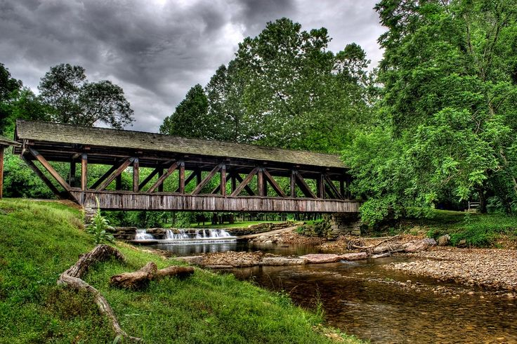 The Covered Bridge on Little Indian Creek that flows through Dogwood Canyon in Missouri