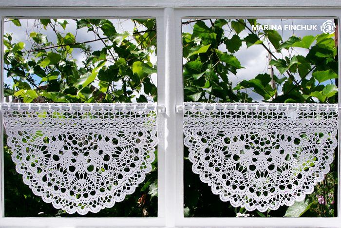 "Шторки-zazdrostki ""Дикий виноград"", crochet-curtains"