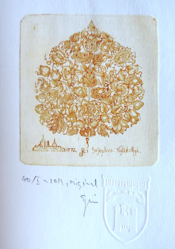 Heart flowers, original vintage etching print after an eighteenth century plate, small view of Targu Mures city, Transylvania, Baroque deco