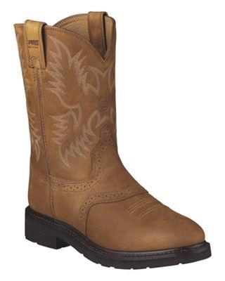 Ariat Sierra Saddle Pull On Work Boots for Men - Aged Bark - 11.5 W