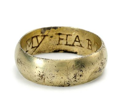 """My Hart You Have"" in a Fire-Gilded Silver Posey Ring -- Still encrusted with the soil from its unearthing from the ground, the wide posey ring is engraved to the interior in capital letters ""My Hart You Have.""  As was the custom of the times, the old English (the then contemporary) spelling was used and the posy clear and legible in its configuration.  Date: Late 17th or early 18th century."