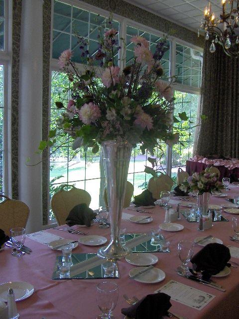 Dogwood Room: Tall & Traditional silver pilsner arrangement