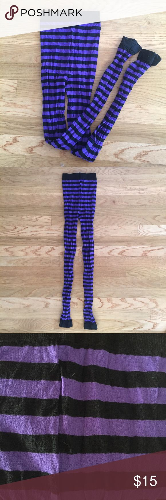 Striped footless tights Purple and black striped footless leggings. Worn once, these are perfect for a witch costume! Last photo shows true purple color. Accessories Hosiery & Socks