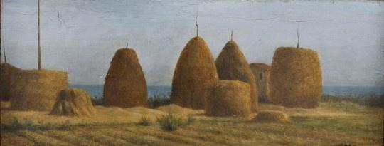 Raffaello Sernesi: Pagliai a Castiglioncello, olio su tavola, 1865 ca