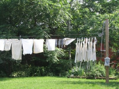 I want to put a laundry line outback. Not sure how/where to put it, as I don't want anything permanent. But i'm also not spending $30/$40 on a Outdoor laundry line rack.