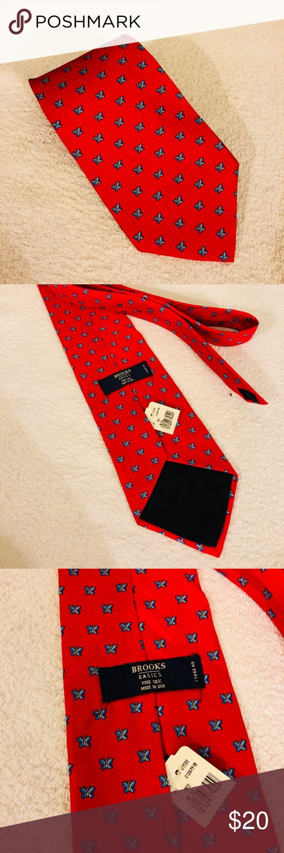 Brooks Brothers NWT Red w/Blue Butterfly Check Tie Brooks Brothers Red With Blue and Gold Butterfly Check Silk Necktie! NEW WITH TAGS! Please make reasonable offers and bundle! Ask questions! Brooks Brothers Accessories Ties