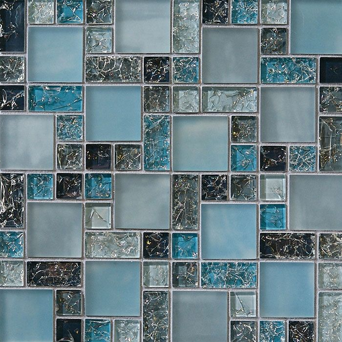 Crackle Glass Tile   Various Sized Crackled Glossy Glass And Frosted Glass  Tile Mosaic   Blue