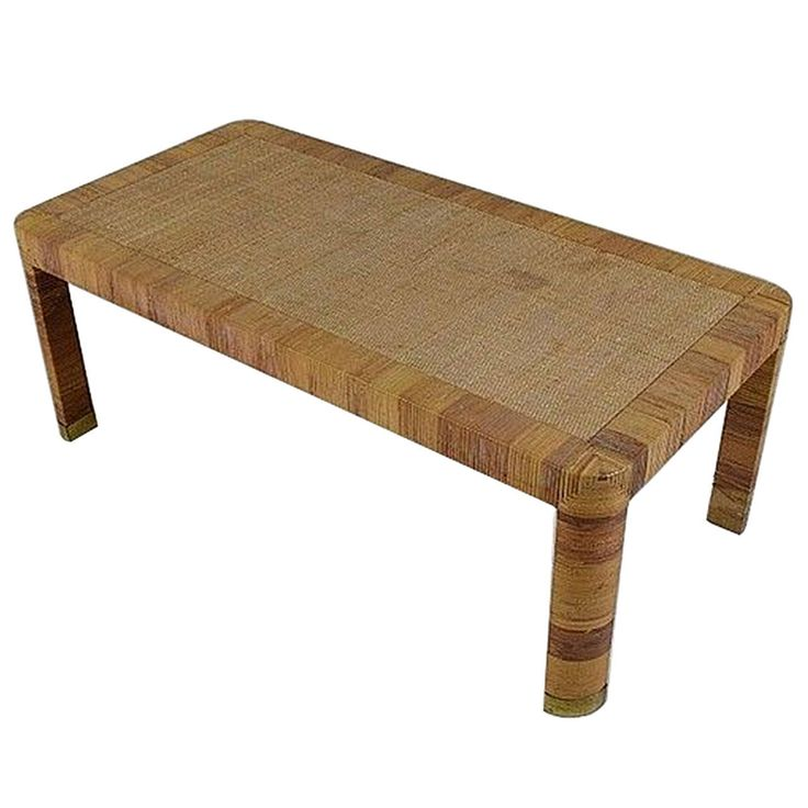 Rattan Coffee Table Etsy: Vintage Rattan And Brass Coffee Table By Bielecky Brothers
