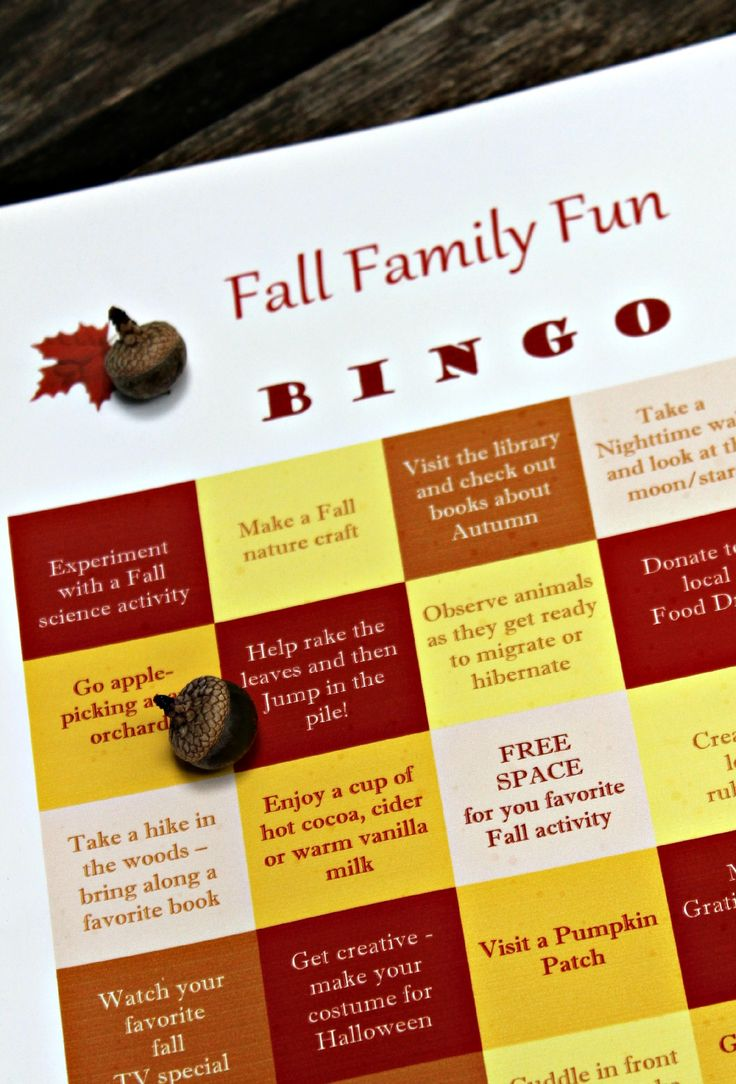 Enjoy all the fun of Autumn with this Fall Family BINGO game along with 50 great ideas of things to do together! #autumn
