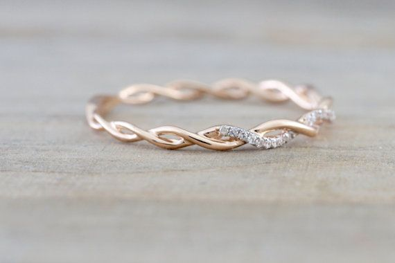 14k Rose Gold Round Cut Diamond Rope Twined Vine Engagement Pave Stackable Stacking Promise Ring Anniversary – Vanessa