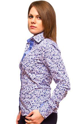 Купить Белая женская рубашка в синий цветочек недорого в Москве