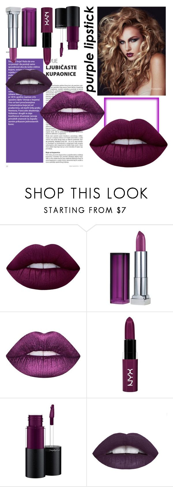 """purple lipstik"" by ranita-228 ❤ liked on Polyvore featuring beauty, Lime Crime, Maybelline, NYX and MAC Cosmetics"