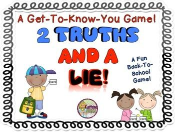 Looking for a fun Back to School activity or game to use as an Icebreaker? Just is just the activity for your class!Its an easy to play game in which students think up Two Truths about themselves and one Lie about themselves (the lie is just a fun statement about themselves that is simply not true).Each student is given a blank task card and they write down their three statements in random order.