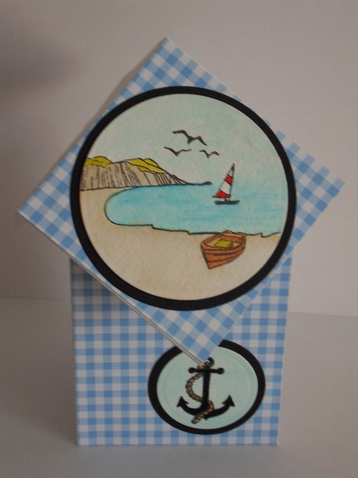 Seashore diamond top card made with Hobby Art Stamps