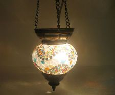 Gray Mosaic Hanging Lamp Glass Chandelier Light Lampen Handmade Candle Art 137