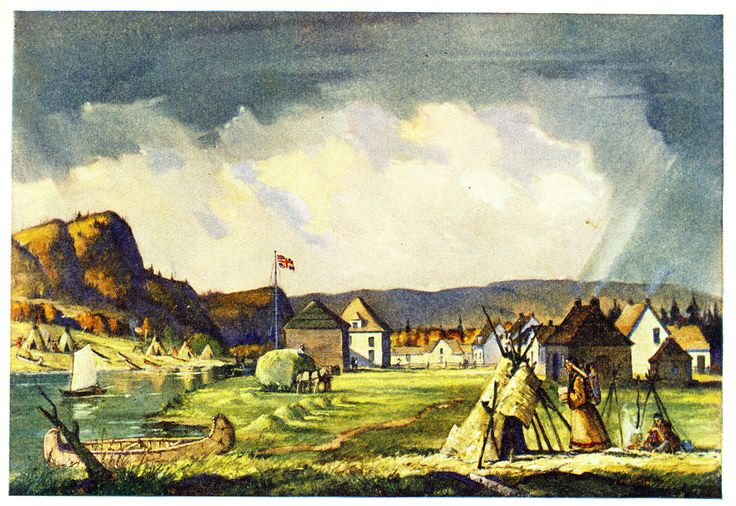 The Site of Fort William • painted by John Martin, from a water colour painting by William Armstrong, now in the John Ross Roberston Collection at Toronto Public Libraries.
