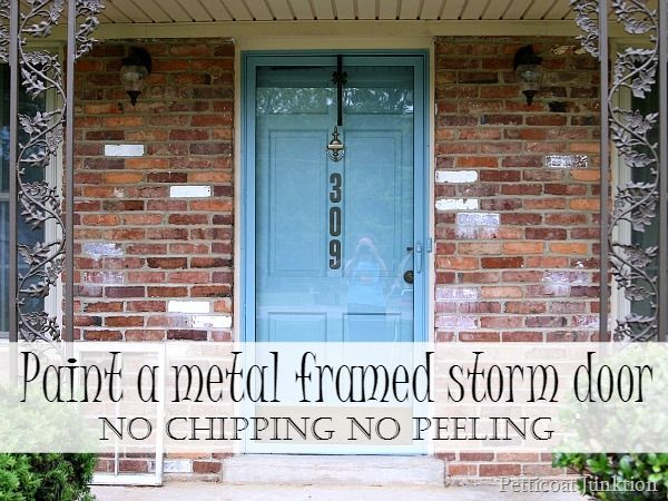 I painted my metal framed storm door to match the entry door 2 years ago. The paint looks as fresh as it did the day I painted it. No chipping, no peeling! #paint #metal #door
