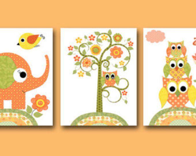Ensemble Decor hibou pépinière éléphant crèche bébé fille pépinière Decor enfants Art Print pépinière impression bébé hibou de 3 arbre Orange vert