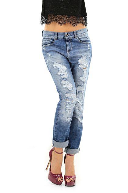 Twin Set Jeans - Jeans - Abbigliamento - Jeans in cotone a cinque tasche con dettagli consumati nella lunghezza. Modello morbido. - UNICO - € 176.00