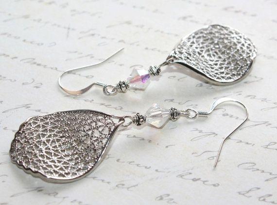 This.  Silver Filigree Earrings Silver Leaf Earrings Crystal by myVardo