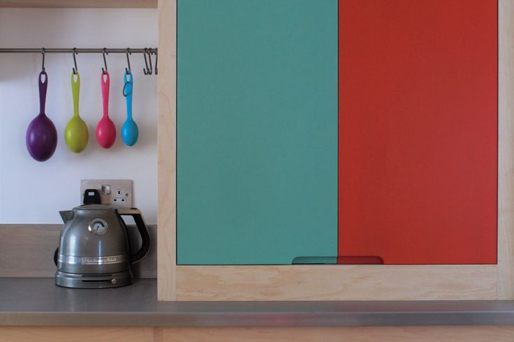 Multicoloured Farrow & Ball painted plywood kitchen half larder and drawers