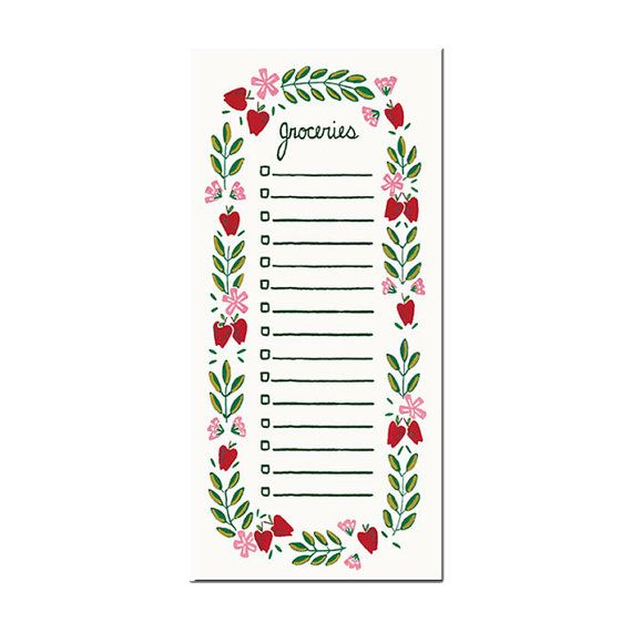 Grocery list notepad - apple pattern! by amylindroos.com on Etsy