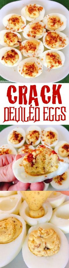 Crack Deviled Eggs take hard boiled eggs to a whole new level. The combination of ranch dressing, hard boiled egg yolks, bacon and seasoned salt will make this side dish or appetizer one that you will want to enjoy all year long!