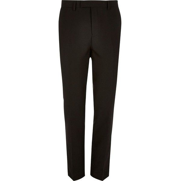 River Island Black slim suit trousers ($50) ❤ liked on Polyvore featuring men's fashion, men's clothing, men's pants, men's dress pants, suits, mens slim fit suit pants, mens slim fit dress pants, mens zipper pants, mens slim dress pants and tall mens dress pants