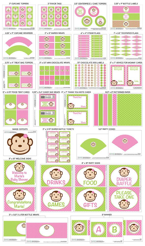 Printable DIY Personalized Pink and Green Monkey Girl Theme LARGE Baby Shower Party Package by PapercutsPartyShop, $30.00