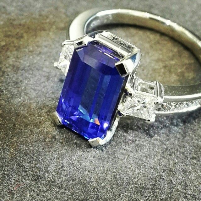 Africn - Tanzanite - Diamonds - Platinum  Rectangular Cut 3.14ct Tanzanite set in a bespoke Handcrafted Diamond and Platinum Ring.   #tanzanite #Platinum #handcrafted #bespoke #diamonds #africn