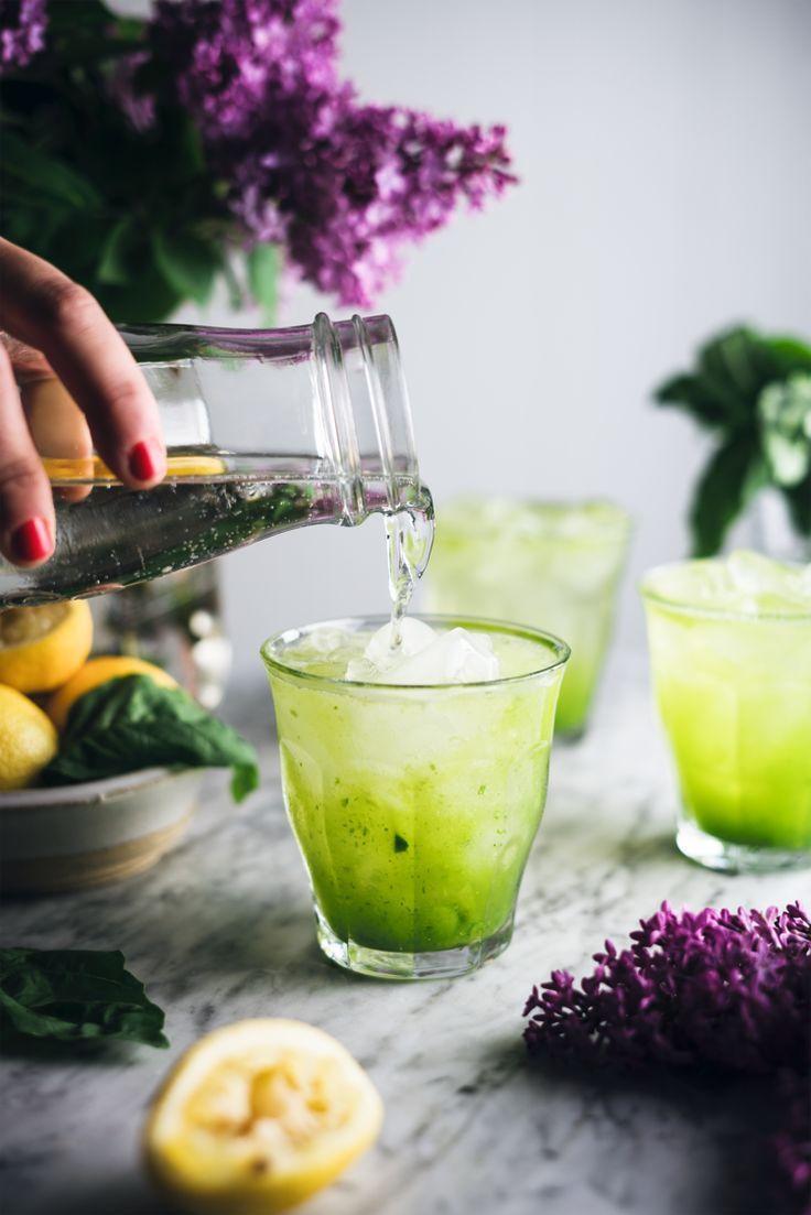 Limonade, concombre et basilic