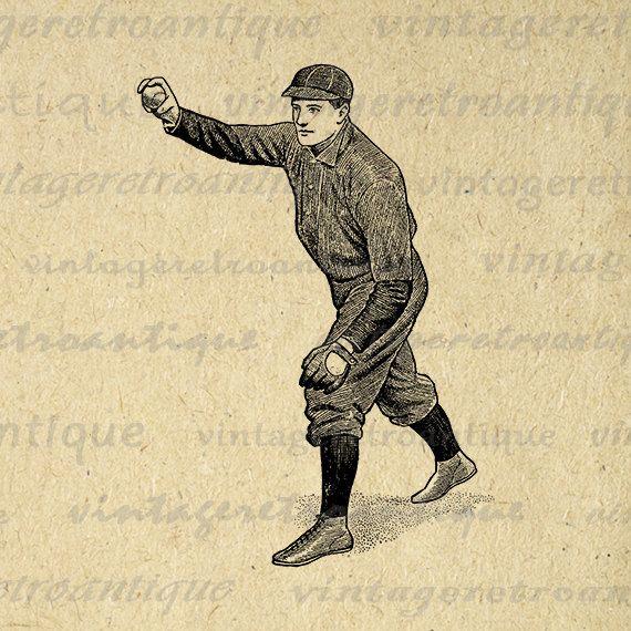 Printable Antique Baseball Pitcher Image Graphic Baseball Player Download Digital Jpg Png Eps 18x18 HQ 300dpi No.4194 @ vintageretroantique.etsy.com
