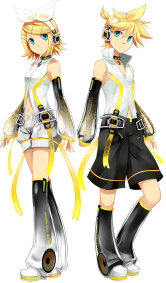 Illu Vocaloid Kagamine RinLen Append.png. I really love twins because I have two older sisters who are twins and they're the best in the world <3