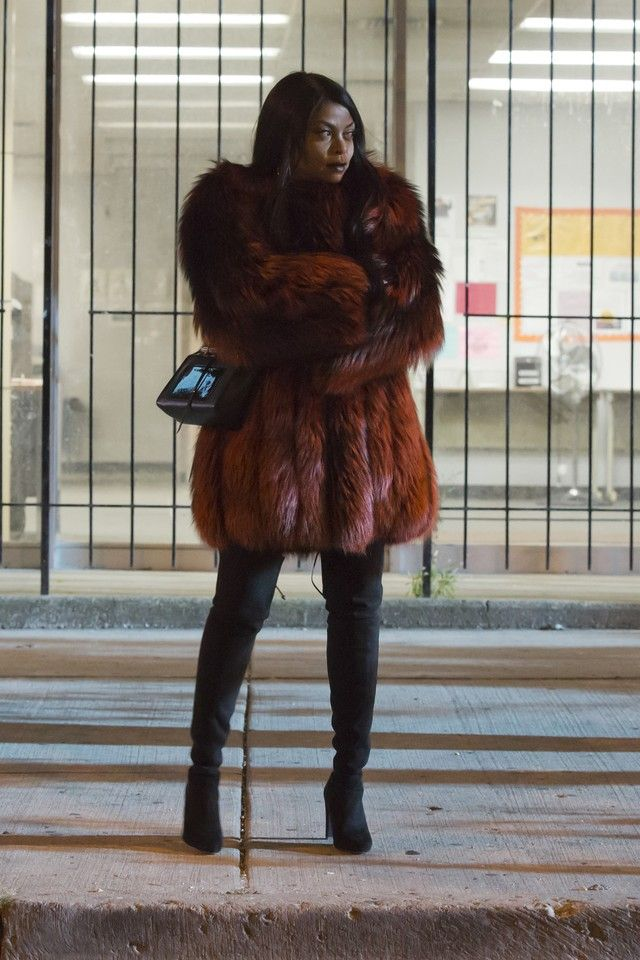 Cookie Lyon wearing Stuart Weitzman Highland Stretchy Suede Over-The-Knee Boot, Jimmy Choo Onix Shoulder Bag, Georgine Fall15 Fur Coat