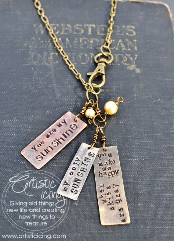 You are my Sunshine Mixed Metal necklace by artisticicing on Etsy, $42.00