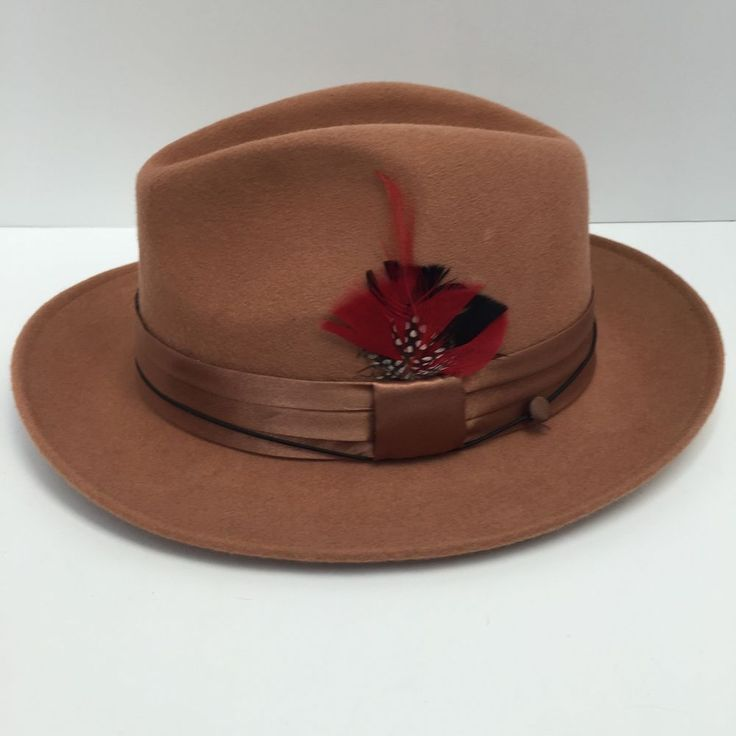 Fedora Tan St Patrick Men's Dress Hat 100% Wool Hatband with Feather #StPatrick #FedoraTrilby