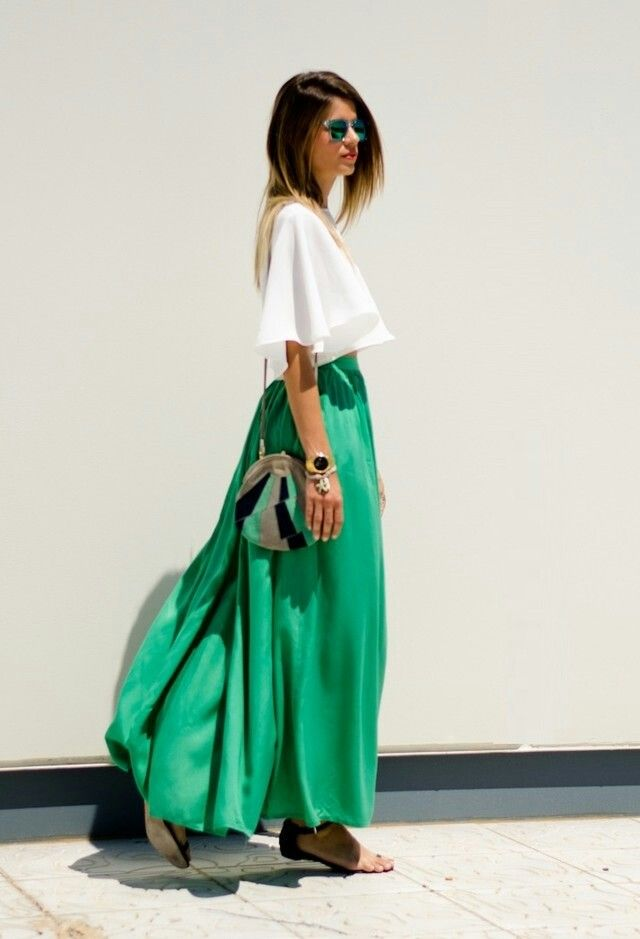A dash of color... #maxi #green #crop