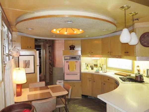 midcentury retro Spartan Trailer, circular kitchen